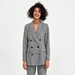 Zara | Oversized Double Breasted Checked Blazer XS